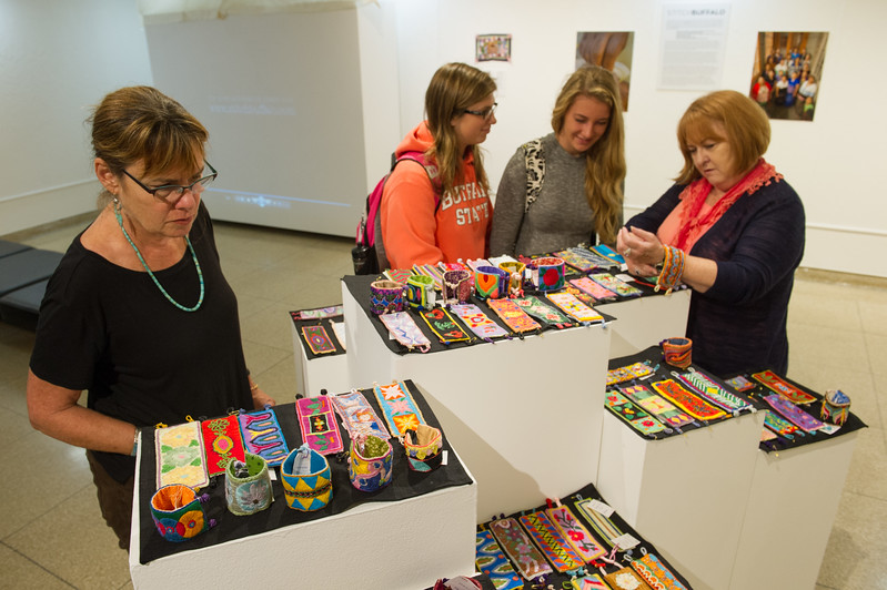 Stitch Buffalo exhibit and workshop during Anne Frank Project at Buffalo State College.
