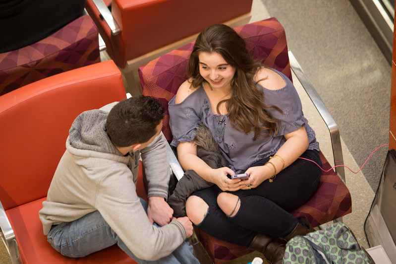 Students in Campbell Student Union at SUNY Buffalo State.
