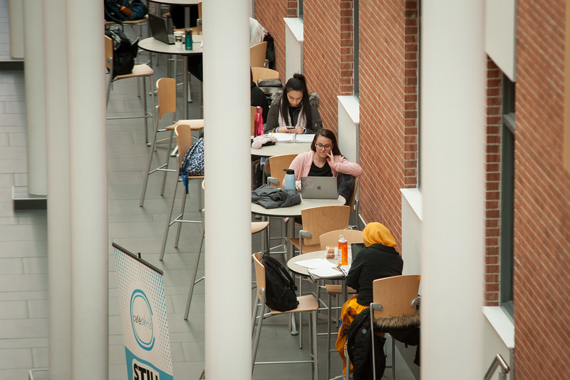 Students studying in Science and Math Complex atrium at SUNY Buffalo State College.