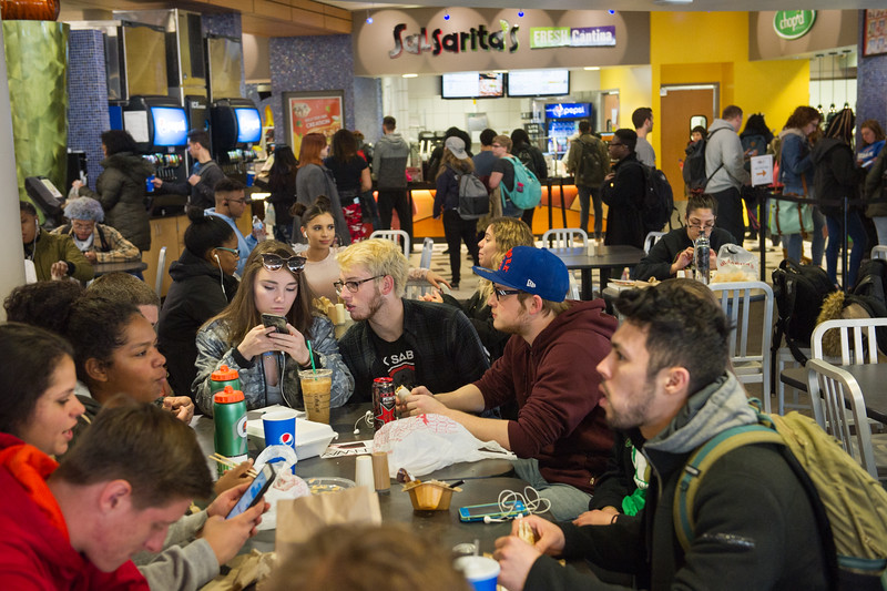 Students in retail dining area in the Campbell Student Union at Buffalo State College.