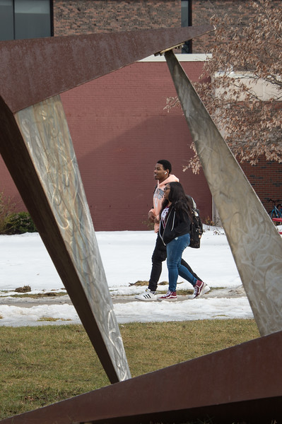 Campus scenic on a warm mid-winter day at Buffalo State College.