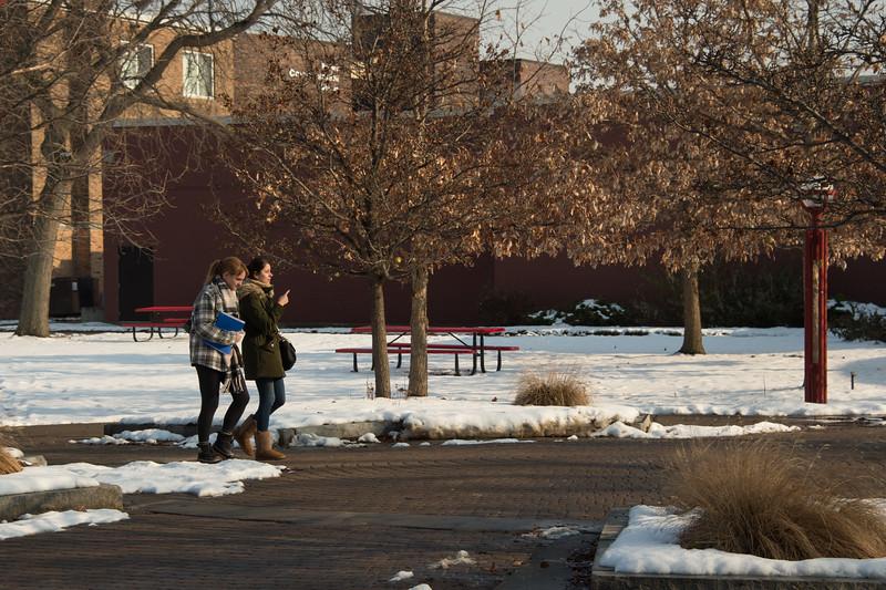 Winter campus scene at Buffalo State College.