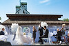 The wedding ceremony at the Eli Bennett and Rosemary Siemens wedding weekend during Plumfest,  August 19-21, 2017 in Plum Coulee, Manitoba, Canada.