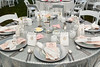 The wedding banquet tent tables at the Eli Bennett and Rosemary Siemens wedding weekend during Plumfest,  August 19-21, 2017 in Plum Coulee, Manitoba, Canada.