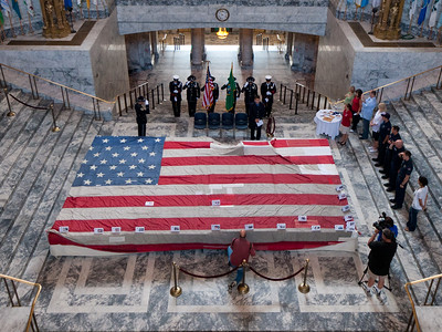 The National 9/11 flag visiting the Washington State Capitol rotunda in August, 2011
