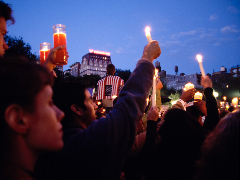 Candlelight vigil in Union Square Park in lower Manhattan