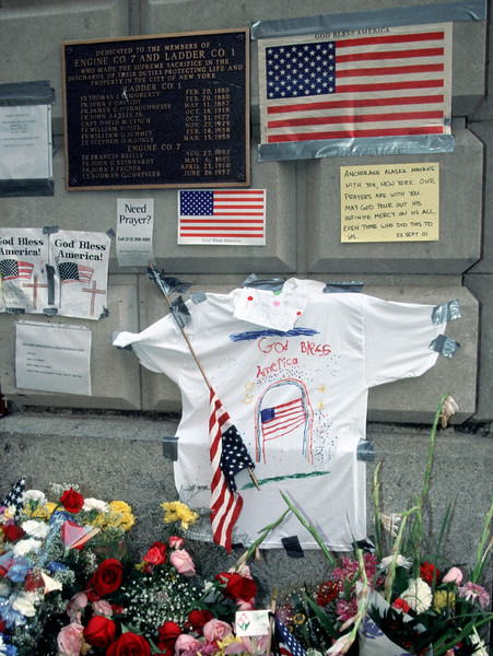Messages of hope outside Engine Company 7 and Ladder Company 1 in lower Manhattan