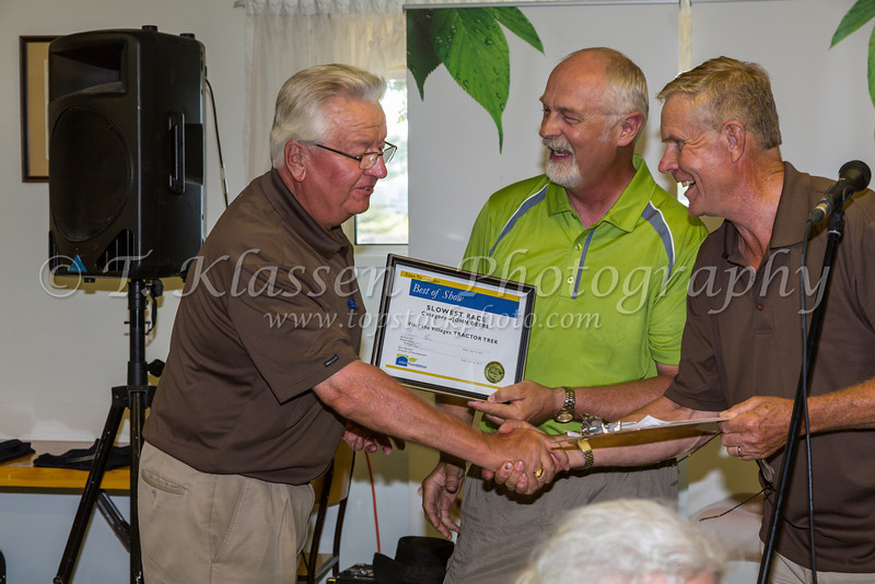 Awards presentation at the dinner after the Eden Foundation 2013 Tractor Trek through the prairie landscape of southern Manitoba south of Winkler.