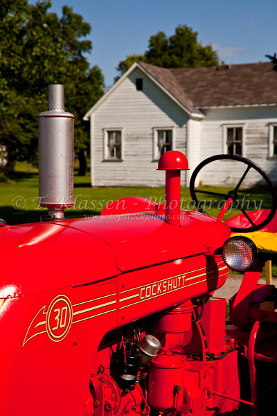 Closeup detail of an antique Cockshutt tractor in Reinland, Manitoba, Canada.