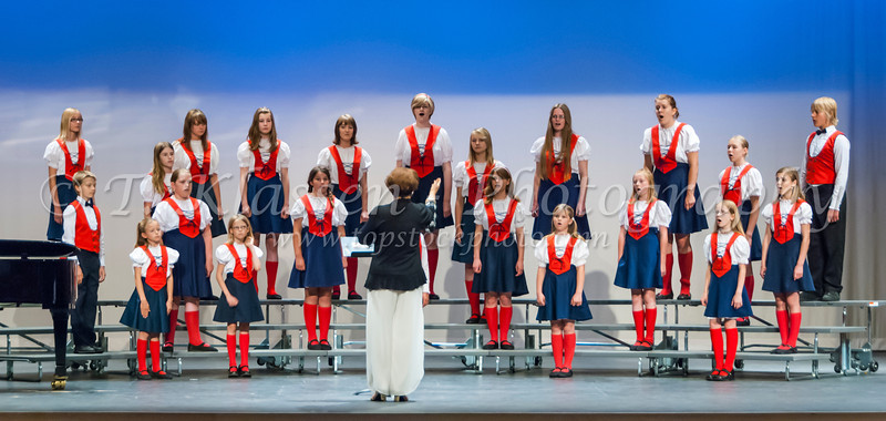 The Winnipeg Mennonite Children's Choir performing at Buhler Hall in Gretna, Manitoba, Canada.
