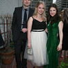 LONDON WALL cast members Stephen Plunkett, Katie Gibson, and Elise Kibler smile for the camera on the terrace.