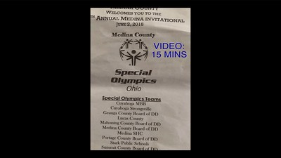 Video:  15 mins - Spl Olympics Strongsville Track Meet in Medina, OH., Sat., June 2, 2018.  Click on above image and then on triangle and video will play.