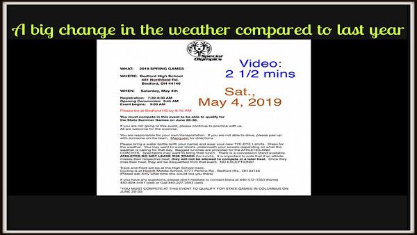 Video: 2 1/2 mins - Spl Olympics - Bedford, Ohio, Sat., May 4, 2019