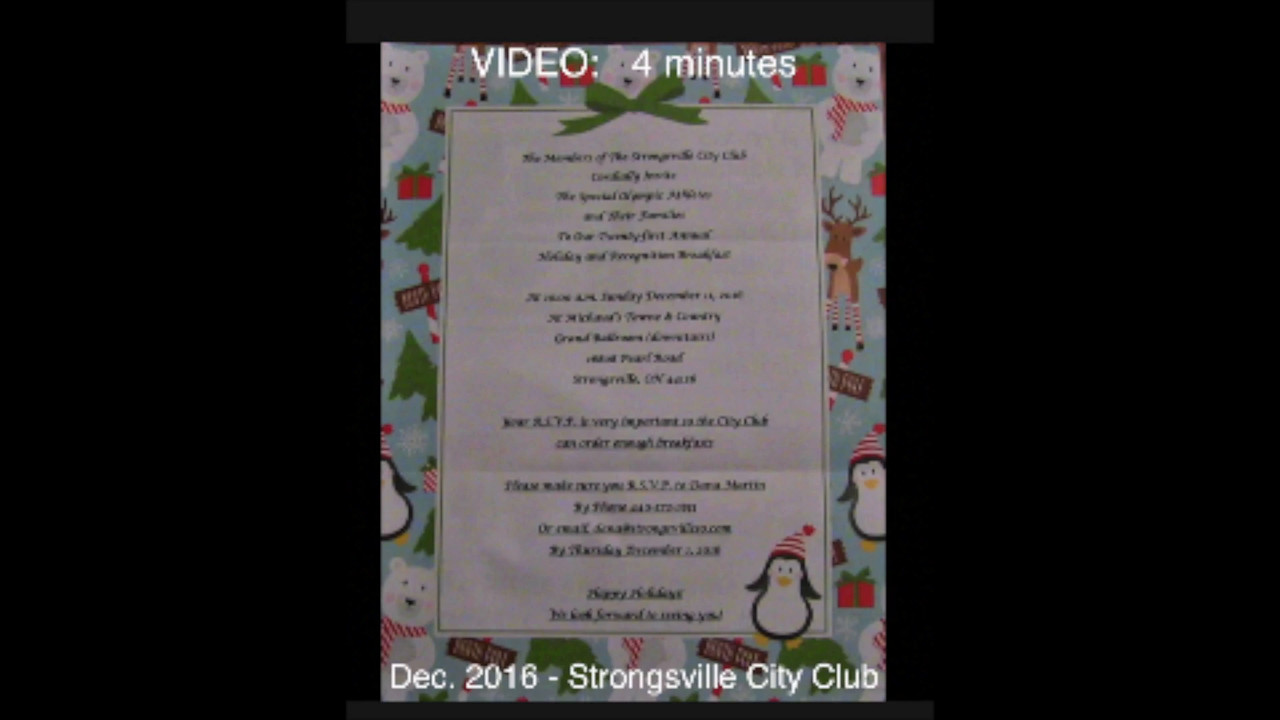 VIDEO:  4 minutes - 2016 Strongsville City Club Annual Special Olympics Christmas Party