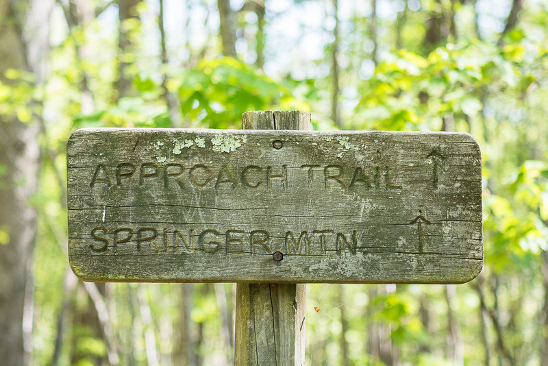 Sign to Springer Mountain, the southern terminus of the Appalachian Trail