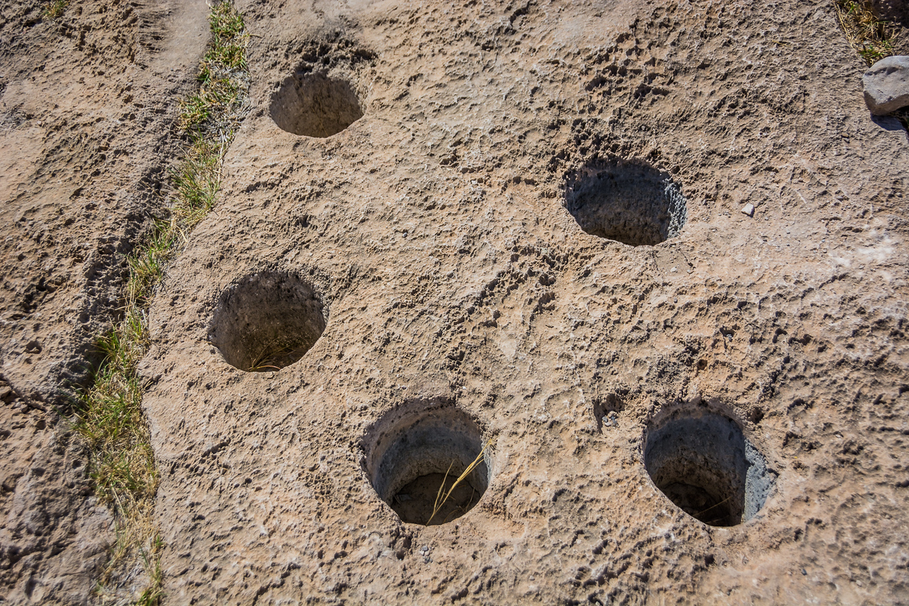 Near the top of the hill Native Americans once created and used these holes to pound nuts and grains into flour.