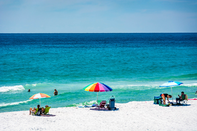 The powder white sand beach is always beautiful and fun to walk on.