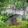 The falls drop 256 feet
