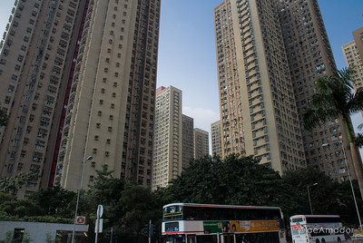 aeamador©-HK08_DSC0114      Hong Kong. Kowloon. San Po Kong.  Tall concrete apartment buildings dominate the city scene.