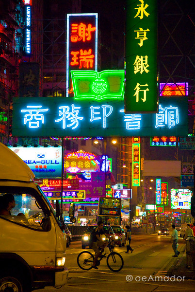 aeamador©-HK08_DSC0234      Hong Kong. Kowloon. Tsim Sha Tsui. Though not to be compared with what you find in Hong Kong island, it is quite a vibrant and lively city. People fill up the streets and sidewalks day and night for shopping, entertainment and more. Signs make a great show, especially at night, giving vibrancy and character to the city.