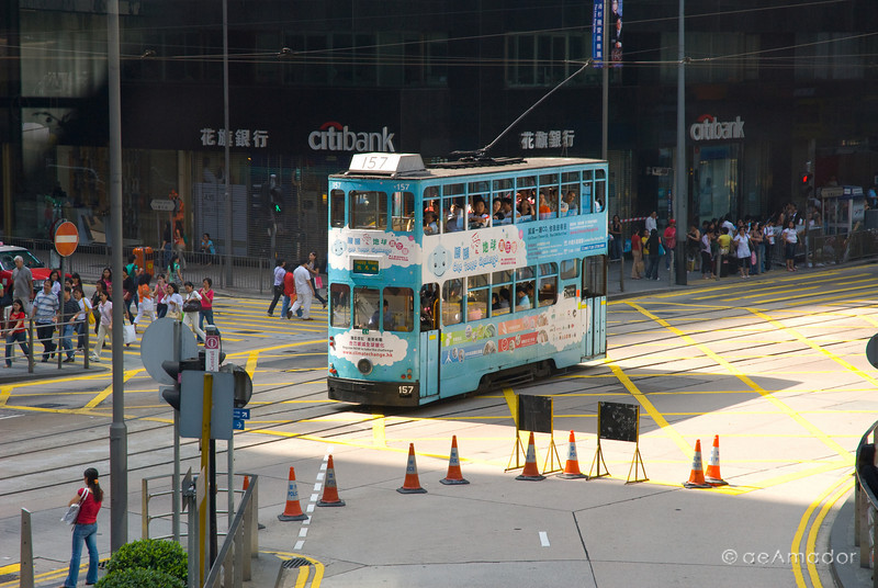 aeamador©-HK08_DSC0047  Hong Kong, downtown area, near ifc tower. I was very impressed by the affluence evidenced in this area. Hong Kong is quite a chic and fine place.<br /> The Hong Kong trolley or tram. They are all different because they are moving ad billboards.