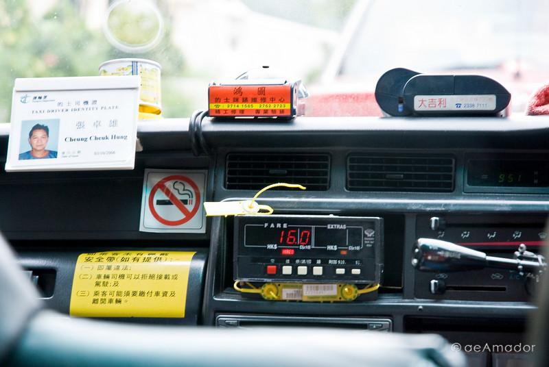 aeamador©-HK08_DSC0004      Hong Kong. Kowloon. Tsim Sha Tsui. <br /> Inside a taxi.