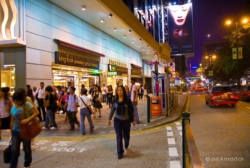 aeamador©-HK08_DSC0149      Hong Kong. Kowloon. Tsim Sha Tsui. Though not to be compared with what you find in Hong Kong island, it is quite a vibrant and lively city. People fill up the streets and sidewalks day and night for shopping, entertainment and more. Signs make a great show, especially at night, giving vibrancy and character to the city.