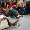 aeamador©-HK08_DSC0109  Hong Kong, downtown area, near ifc tower. I was very impressed by the affluence evidenced in this area. Hong Kong is quite a chic and fine place.<br /> Filipino women on their Sunday off.