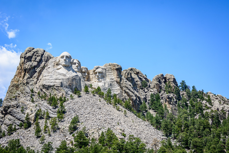 Distant view shows how the monument blends in with the rest of the mountain.