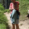 Deb gets the giggles on the trail
