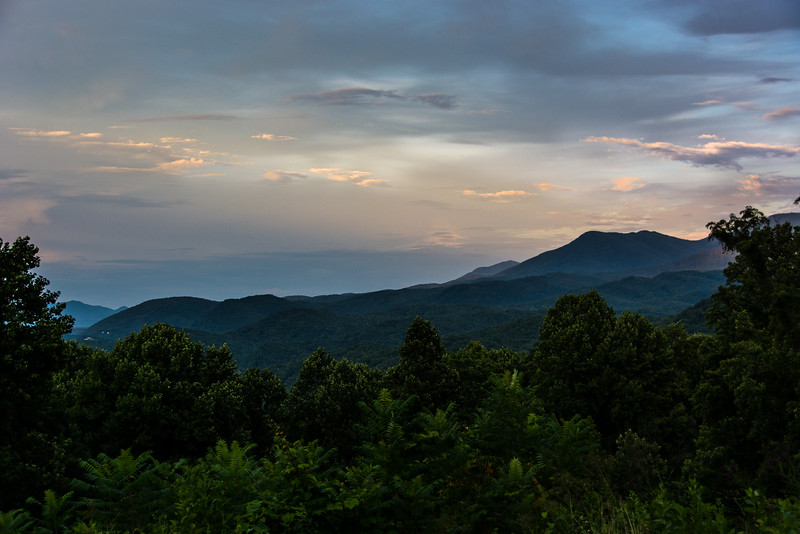 Last shot of the day up the hill towards Cades Cove about a half mile from the Sugarlands Visitor Center