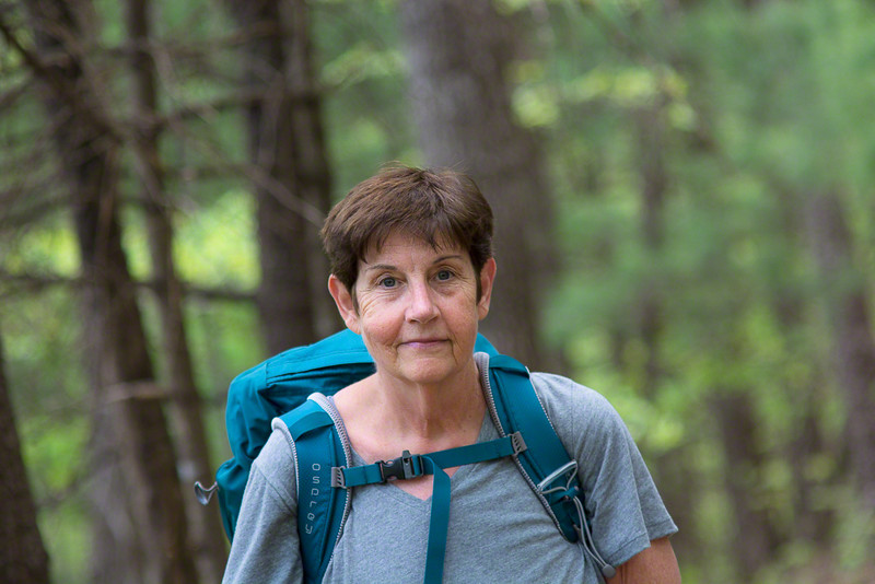 Deb is sporting a new pack that is easier on her shoulders.