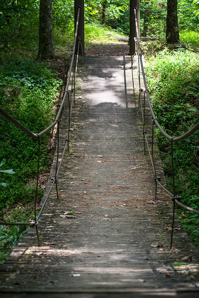 This swinging bridge was anchored well but swayed like crazy.