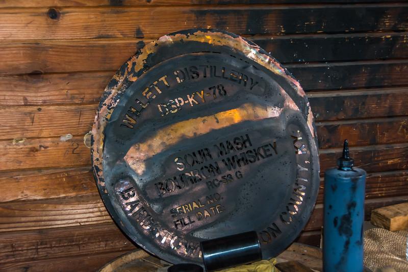 Copper stencil used to label barrels of bourbon