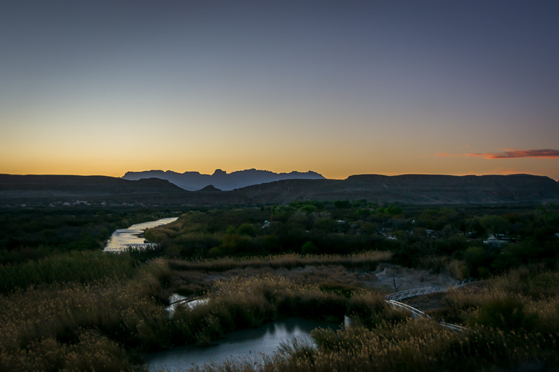 This is from a hill at the top of the Overlook Trail near the campground.  It is a favorite spot for watching sunrises and sunsets.  You can see the Rio Grande River winding around the campground.  Since the Rio Grande is the international border line, everything on the other side of the river (to the left and ahead of the river is in Mexico.