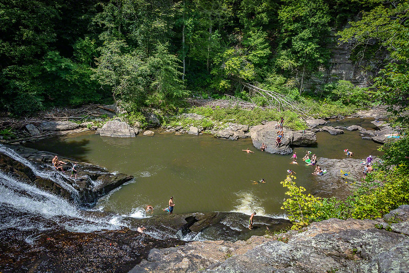 Swimmers below the cascades