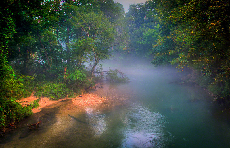 A foggy bend in the Current River, Missouri
