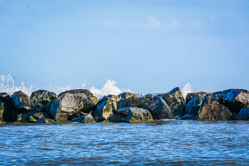 Grand Isle is a barrier island and it is not uncommon to see manmade barrier reefs offshore to reduce erosion.