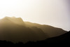 One shot of a sunset when the wind was blowing enough dust and sand to obscure the mountains.