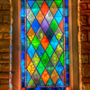 Stained glass window from inside the church