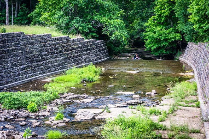 Area immediately below the dam