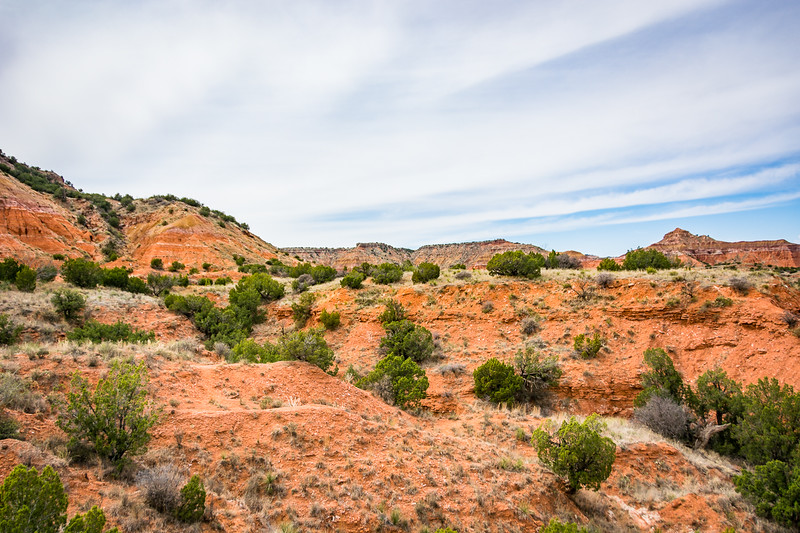 Although there is a lot of variety in the terrain, this is typical of Palo Duro Canyon.