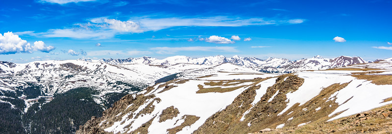 In June a lot of the snow had melted, but enough was left to give some hint how covered these mountains are in winter.