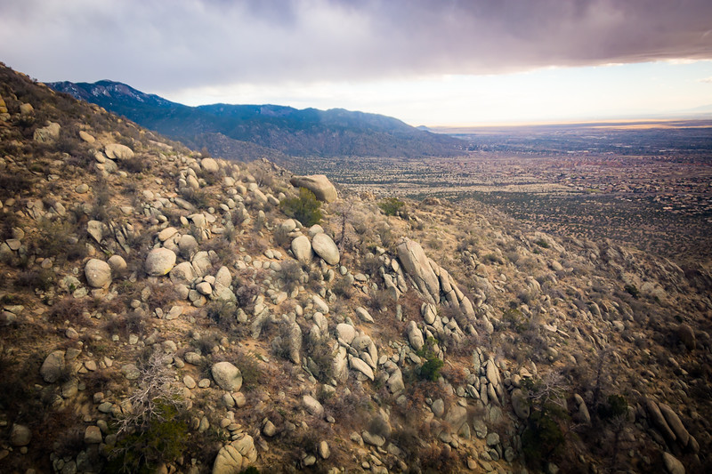 We started up the big Sandia Peak Tram in Albuquerque in the afternoon.  Near the base of the mountain there were lots of somewhat smaller boulders mixed in with some huge ones. The average boulder here is about the size of a small car.
