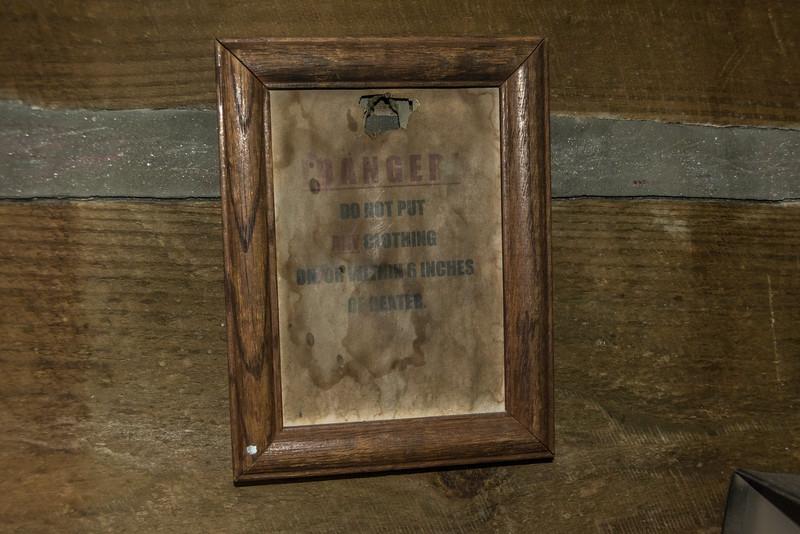 Sign over the kerosene heater