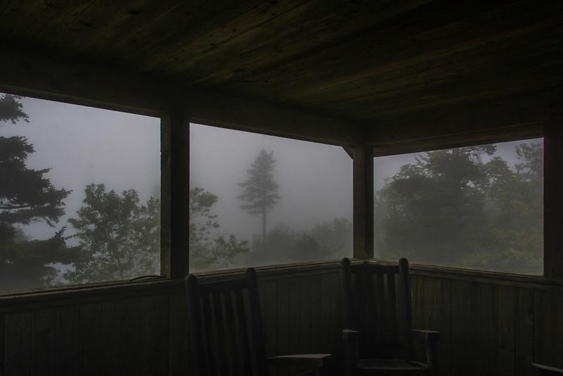Heavy duty rocking chairs.  Cute little tree in the fog.
