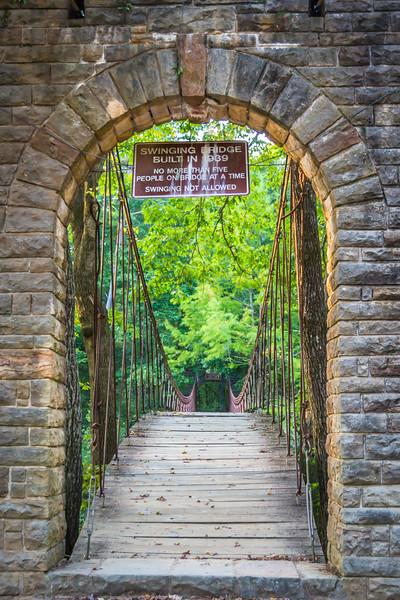 Entrance to the swinging bridge