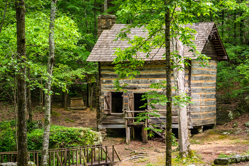 This restored log cabin is in a small ravine.  Both the original and restoration craftmanship are excellent.