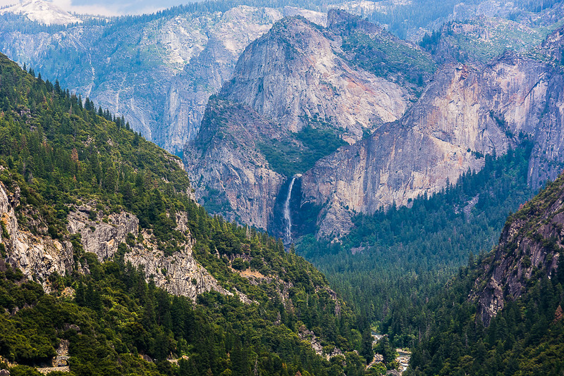 Yosemite Falls from a distance.  The haze this day reminded me of the Smoky Mountains.