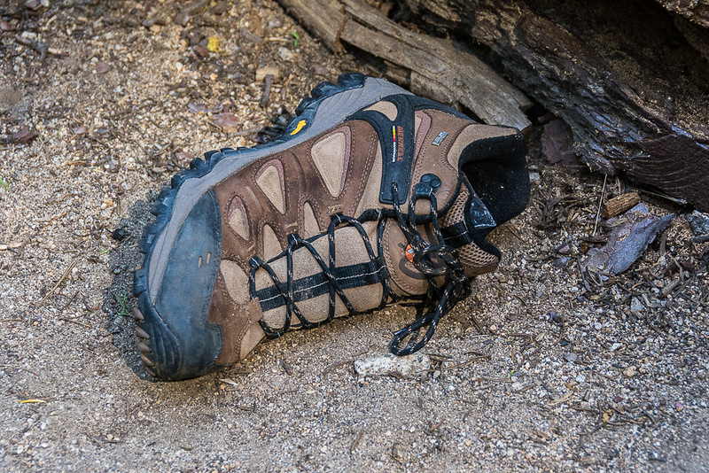 A lone boot someone left on the trail.  There has to be a story that goes with this.